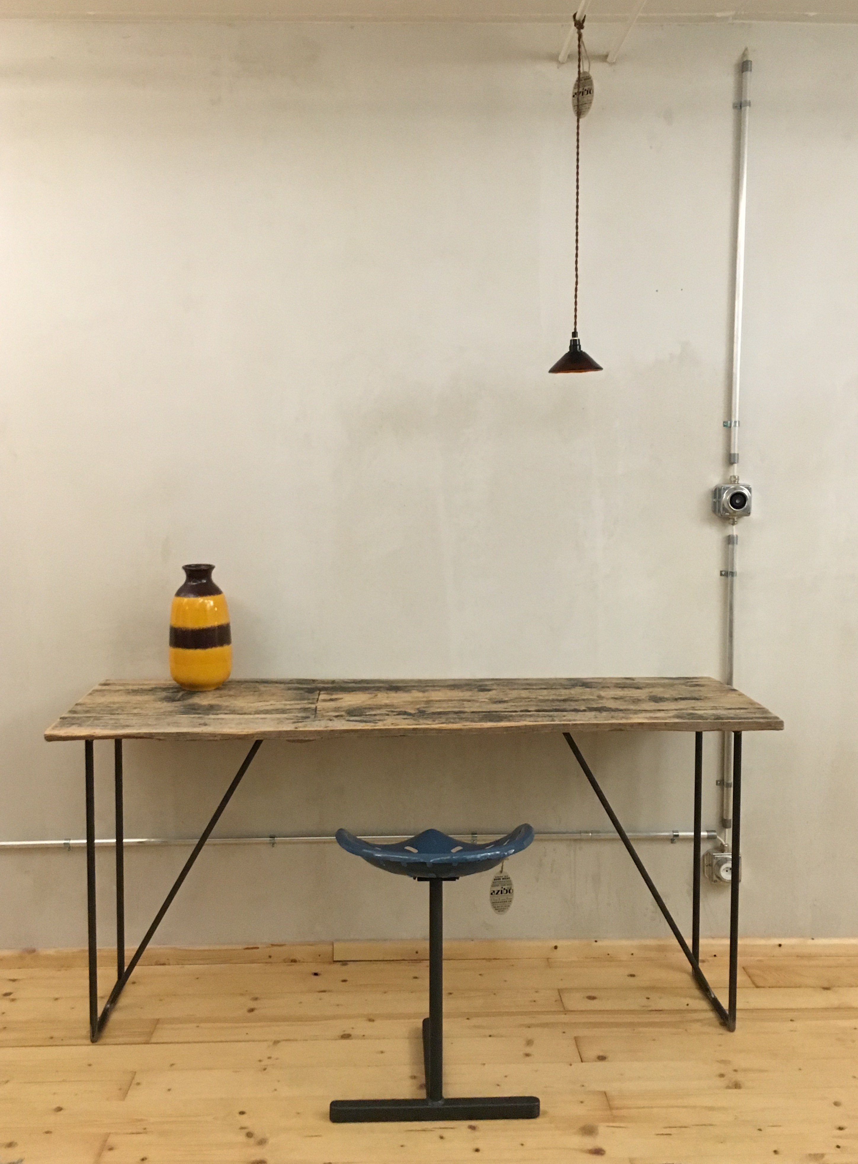 Up cycled wood plank with handmade metal legs